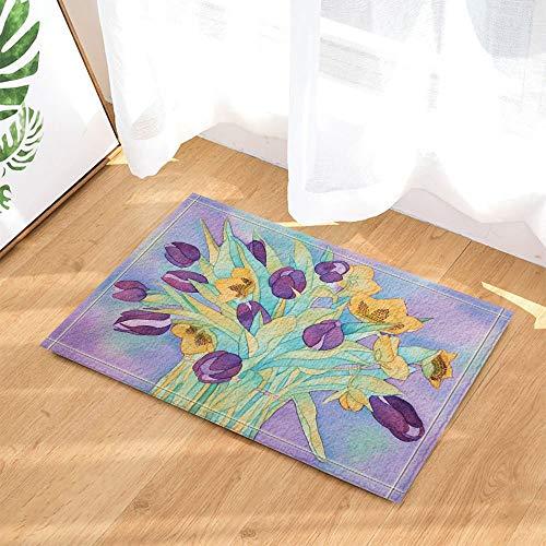 Chenyuuu tenda da bagno con fiori di primavera natura, acquerello fiore con foglie di viola da bagno per tappeti da bagno amante, zerbino antiscivolo asse da pavimento coperta per interni, 40x60cm