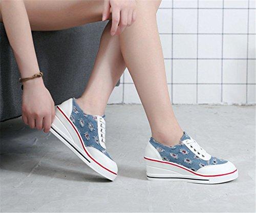 Wealsex Damen Sneaker Keilabsatz Canvas Schuhe Blau A