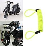 Swiftswan 120 cm Disc Lock Erinnerung Kabel Disc Lock Alarmanlage Motorrad Sicherheitswerkzeuge (Farbe: Grasgrün)