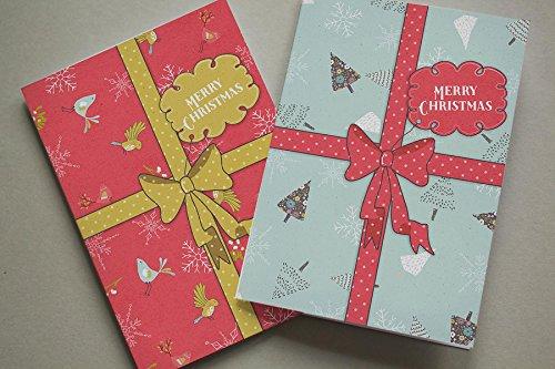 Christmas cards x6nastro regalo fiocco di neve (2design) xmixpack001_ cp