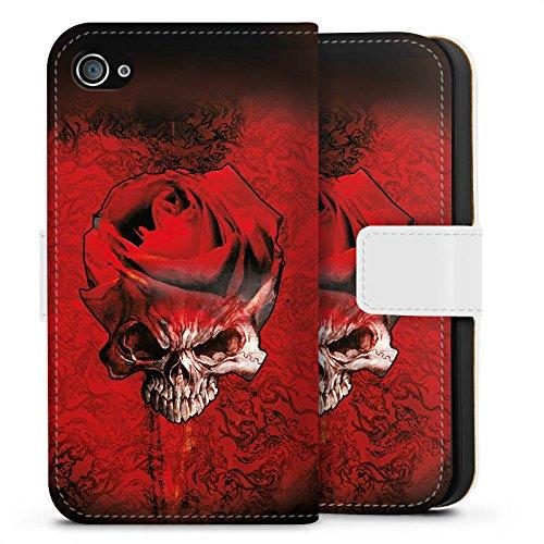 Apple iPhone X Silikon Hülle Case Schutzhülle Rose Blut Dornen Sideflip Tasche weiß