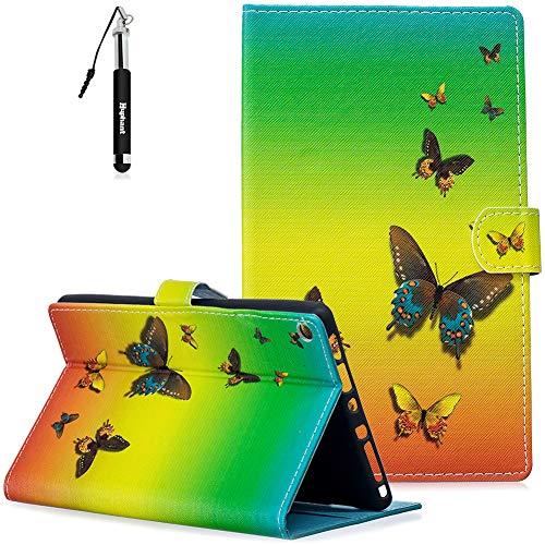 or Kindle Fire HD 8 Hülle, Kindle Fire HD 8 Handy Hülle Schwarz Flip Schutzhülle Silikon Wallet Case für Kindle Fire HD 8 Magnet (Auto Schlaf/Wach) -Schmetterling ()