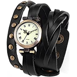 AMPM24 Ailisha Lady Women Wrap Around Bracelet Black Long Leather Quartz Watch WAA340