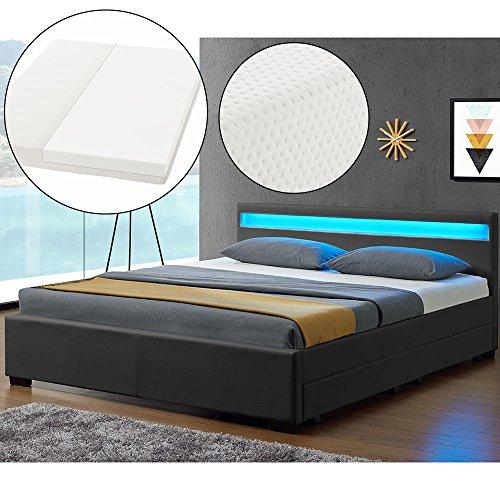 ArtLife Polsterbett Lyon mit Bettkästen, LED Beleuchtung, Lattenrost und Matratze | 180 x 200 cm | grau | Bett Bettgestell