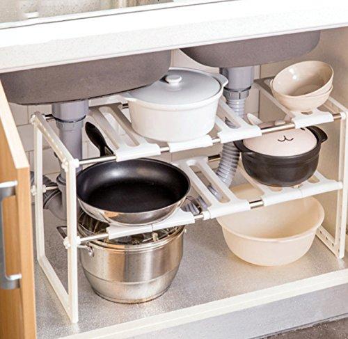 LHFJ Einstellbare Erweiterbar Unter Waschbecken Rack Regal, 2 Tier Küche Badezimmer Speicherorganisator (50~70 * 26 * 38 cm) Veranstalter (Dem Unter Zwei Waschbecken Tier)