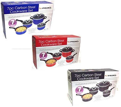 Prima 7pc Carbon Steel Cookware Set Red or Black (BLACK)