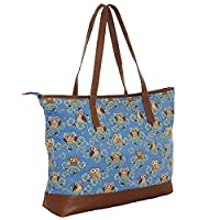 Large Ladies Canvas Oversized Re Useable Shopper Beach Holiday Travel Overnight Gym Holdall Maternity Bag (Blue Owl)