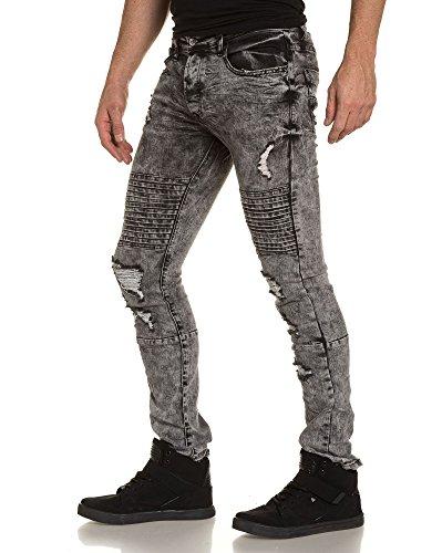 Gov Denim - Jeans gris foncé homme slim destroy Gris