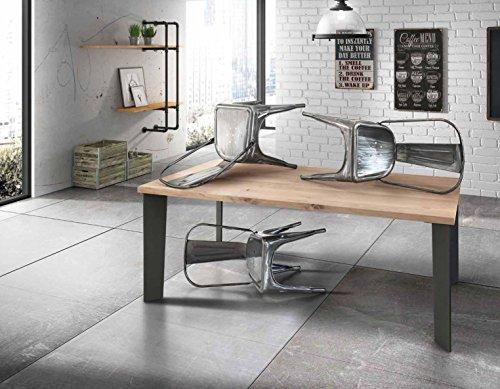 InHouse srls Table avec Plateau en Bois plaqué chêne de 4 cm d'épisseur et Pied en Metal. Dimensions cm. 140X90 Fixe.