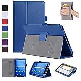ISIN Funda para Tablet Serie Funda de Premium PU con Stand Función para Samsung Galaxy Tab A de 10,1 pulgadas WIFI 4G LTE T580 T585 Android Tablet con Velcro Correa para la Mano y Ranuras para Tarjetas (Azul)