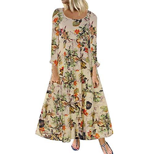 eid Frauen Weinlese Bohe Wellen Punkt Druck Kleid Langes Hülsen Oansatz Maxi-Kleid Vintage Lose Kleid Elegant Strandkleid Große Größen Langes Blumenkleid ()