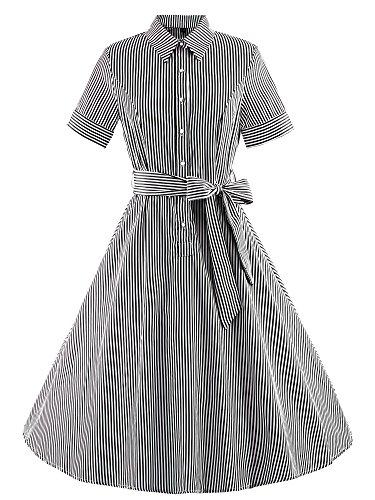 Vintage Rockabilly gestreiften Kleid Hepburn Stil Partykleid Cocktailkleid 70er Jahr (Size Kostüme 70's Uk Plus)