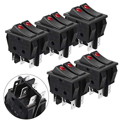 ZCHXD 5 Pcs Double SPST 6 Pins Illuminated On/Off Rocker Switch AC 16A/250V -