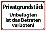 Privatgrundstück Betreten verboten Alu-Schild inkl. 4 Lochbohrungen (4 mm) 30 x 20 cm