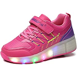 FLARUT Niños Zapatos Con Rueda Junior Led Zapatillas de Patìn Roller Sneakers Deportivos con luz(Rose,30)
