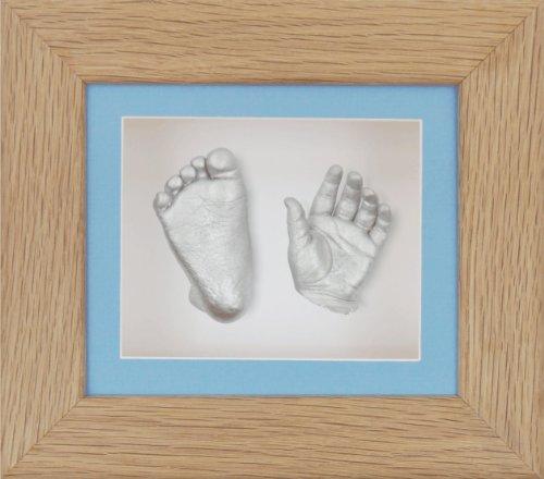 BabyRice Guss-Set für Baby mit 15,2x 12,7cm Eiche massiv 3D-Box Display Rahmen/Blau Passepartout/weiße Rückseite/Farbe Silber -