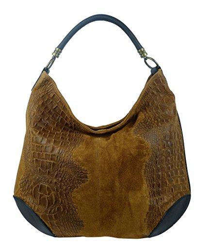 Damen Leder Tasche Henkeltasche Schultertasche mit Kroko Schlangen oder Blumen Prägung Cognac-Kroko