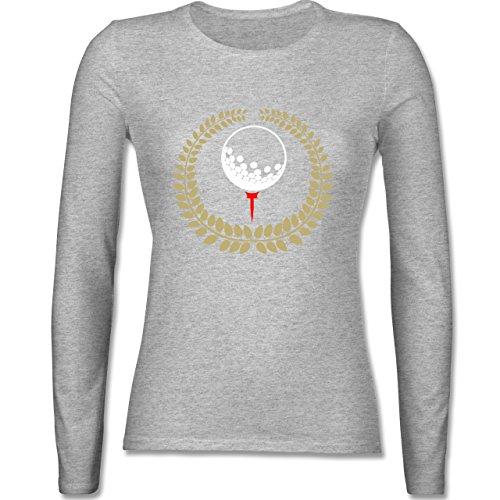 Shirtracer Golf - Lorbeerkanz Golfball Golf-Tee - S - Grau meliert - BCTW013 - Damen Langarmshirt