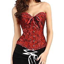 Beauty-You Encaje Gótico Corsé Bustiers Formación del overbust Plus tamaño Cintura Cincher (x-large, Oscuro Rojo)