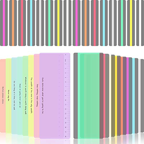 32 Stücke Geführte Lesestreifen Markierung Streifen Farbige Overlays Lesezeichen Kunststoff Lesestreifen mit Skala für Kinder, Lehrer, Legastheniker, Leseanfänger -