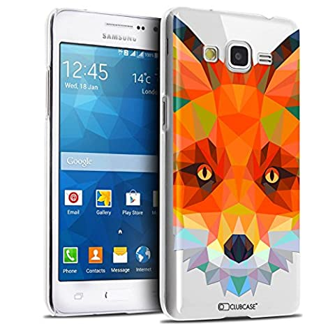 Caseink - Coque Housse Etui Samsung Galaxy Grand Prime SM-G530 [Crystal HD Polygon Series Animal - Rigide - Ultra Fin - Imprimé en France] - Renard