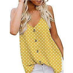 Berimaterry Camiseta Tirantes Mujer Blusa Top Sin Mangas Cami Tank Tops De Gasa Casual para Mujeres Moda Verano Casual Estampado de Lunares con Botones Camisa Chaleco y Blusa De 2019 Primavera