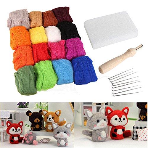 16 Colores lana + 9 Agujas Fieltrar Mango Mat Set