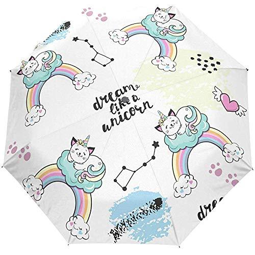 Simpatico gatto Sogno Cavallo Arcobaleno Animale Auto Open Umbrella Ombrello pioggia pioggia Anti UV pieghevole Ombrello automatico compatto