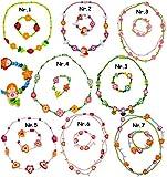 alles-meine.de GmbH 2 TLG. Set _ Armband + Kette -  Blüten & Blumen - bunt  - aus Holz - Schmuck / Perlenkette - Bunte Holzperlen / Perlen - Kinderkette - Kinderschmuck - Halsk..