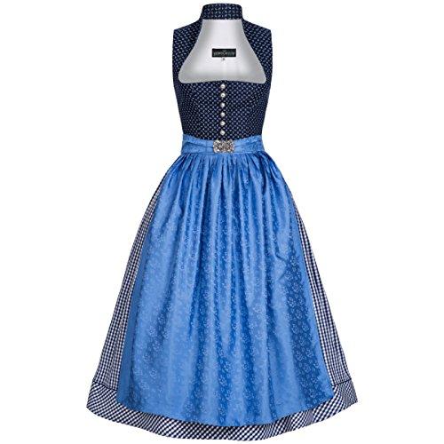 Berwin und Wolff Damen Trachten-Mode Midi Dirndl Bawett in Blau traditionell, Größe:32, Farbe:Blau