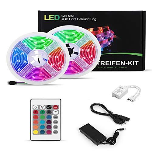 LED Streifen Strip 10m SMD 5050 Leds RGB LED-Streifen-Kit mit Netzteil, Fernbedienung Lichterkette Led stripes Lichtband Leiste Band Farbwechsel selbstklebend Beleuchtung LED Lichtleiste LED Licht