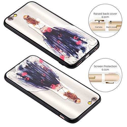 Cover iPhone 6 Plus (5.5 pollici) Case iPhone 6S Plus Custodia Spiritsun Moda Ultraslim TPU Case Elegante Carina Souple Flessibile Morbido Silicone Copertura Perfetta Protezione Shell Paraurti Custodi Gonna Nera