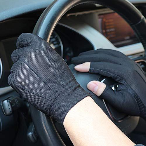 Agelec Frühling und Sommer Fahren Sonnencreme Anti-Schweiß atmungsaktive Handschuhe Express Angeln Touchscreen dünne EIS Baumwollhandschuhe Männer und Frauen halbe Fingerlose Hand (Größe : L) -