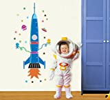 telescope enfant ufengke® Fusée de Bande Dessinée Vaisseau Spatial Extraterrestre Toise Stickers Muraux Bricolage (80-170cm) (31-60in), la Chambre des Enfants Pépinière Autocollants Amovibles