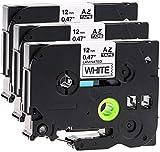 3x Schriftbandkassette für Brother TZe-231 12mm schwarz auf weiß 12mm breit x 8m lang laminiert kompatibel zu TZE-231