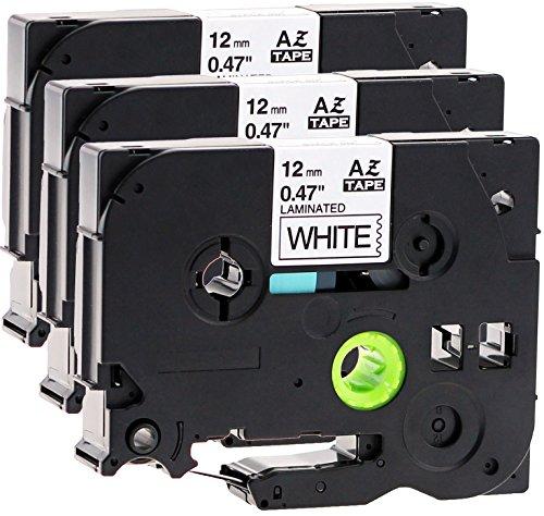 3x Schriftbandkassette für Brother TZe-231 12mm schwarz auf weiß 12mm breit x...