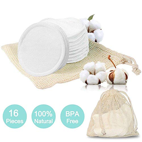 eujiancai 16 Packs Reusable Cotton Pads|Bamboo Makeup Remover Pads Rounds with Laundry Bag|Eco-Friendly|Washable|Organic|Soft|for Facial Eye Cleansing (Bamboo Cotton Pads Rounds)