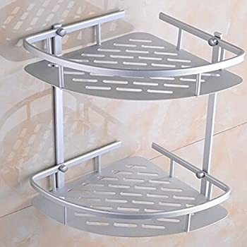 Risingmed Matte Rust-Proof Aluminium Bathroom 2-Tier Corner Shelves ...
