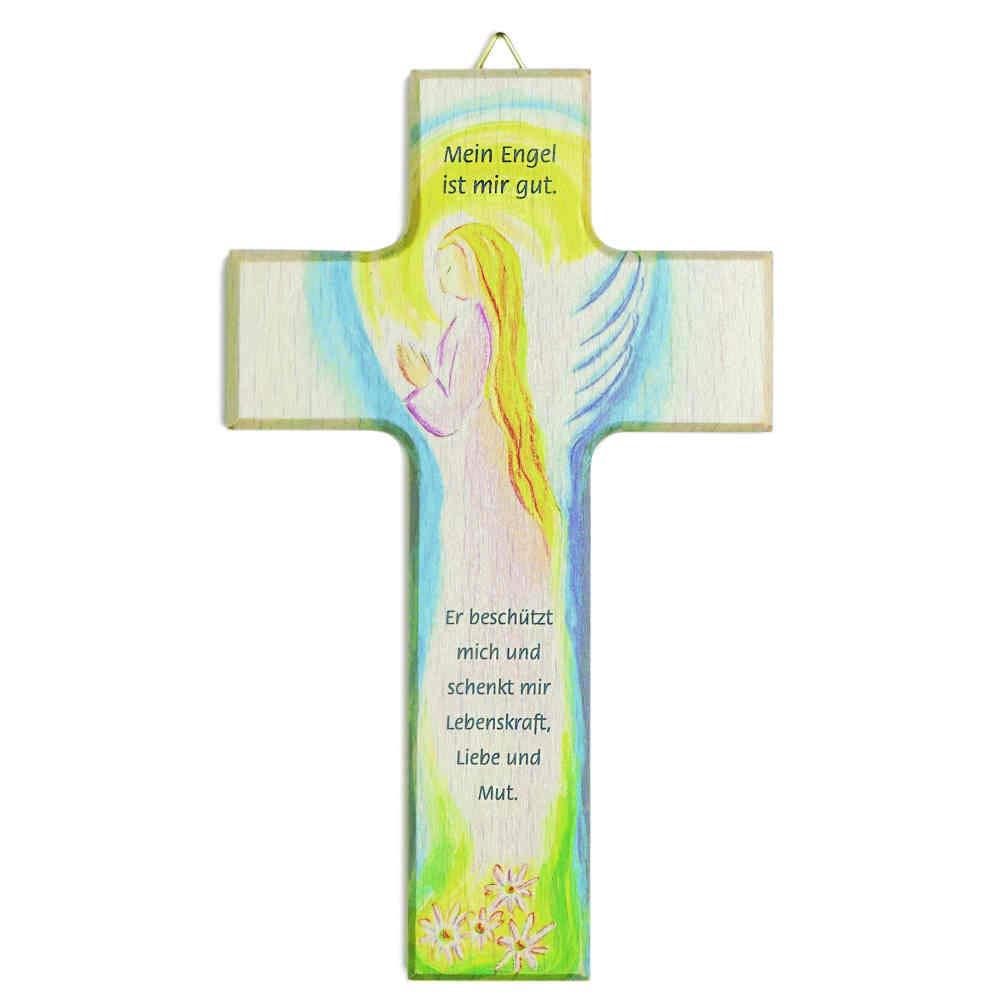 kruzifix24 Devotionalien Kinderkreuz Motiv Engel Schutzengel im rosa Gewand