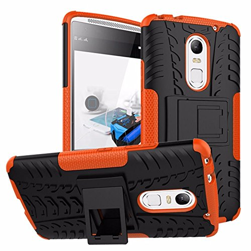 Heartly Tough Hybrid Flip Kick Stand Spider Hard Dual Shock Proof Rugged Armor Bumper Back Case Cover For Lenovo Vibe X3 - Mobile Orange