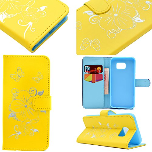 Cozy Hut iPhone 6 Plus / 6S Plus (5,5 Zoll) Cover,iPhone 6 Plus / 6S Plus (5,5 Zoll) Custodia in Pelle,Flip/Wallet/Libro Protettiva Cover Case,Ultra Slim Sottile Leather Pu Portafoglio Custodia,Creati giallo