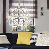 s.LUCE Atom 30 LED-Hängeleuchte Metallkugel 486 Lumen Hängelampe Designlampe Esszimmerleuchte Chrom