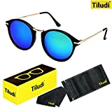 TILUDI Men's Blue Lens Wayfarer Sunglass (EYEWEAR041_M_Blue_Gold)
