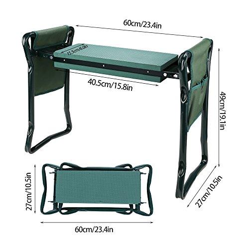 Kniebank Garten Kniebänke für Gartenarbeit Haus Klappbar mit 2 Werkzeugtaschen EVA-Schaumkissen Grün