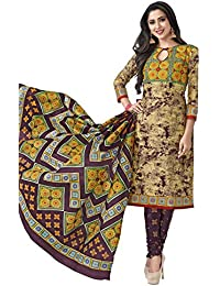 HRINKAR Women's Cotton Salwar Suit Dupatta Dress Material (HRKT1640_Yellow And Pink_Free Size)