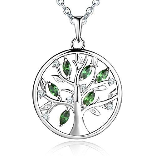 YL Lebensbaum Kette Damen-925 Sterling Silber Halskette mit Smaragd Stammbaum Anhänger Kette Weihnachtsgeschenke für Frauen Mädchen Mutter, Kettenlänge 45-50 CM (Smaragd-schmuck Für Frauen)