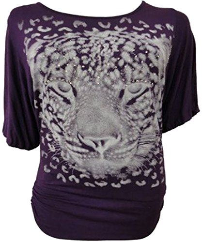 Neue Damen Plus Größe Pailletten Tiger Drucken Baggy Batwing Tops Tunika, Kleid 12–30 Violett - Violett