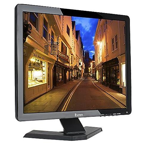 Eyoyo Écran 17 pouces 4:3 Moniteur LCD TFT Couleur 1024 x 768 1080P CCTV HDMI HD avec Sortie écouteur BNC VGA AV HDMI USB et de haut-parleur intégré