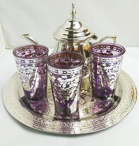 kenta artesanais Juego de té marrakchi, Bandeja repujada 25 cm x 3 Vasos x Tetera para 3