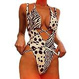 Lialbert Leopard Push Up Dame Neckholder Overall Badeanzug Mit BüGel Schulterfreie Fashion TräGerloser Schwimmanzug Jumpsuit Kreuz RüCkenfrei Sexy Sport Badeanzug Sling Strand (Gelb,38)